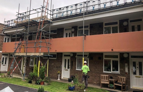 Residential Scaffolding Portfolio - Roof Work above Shop