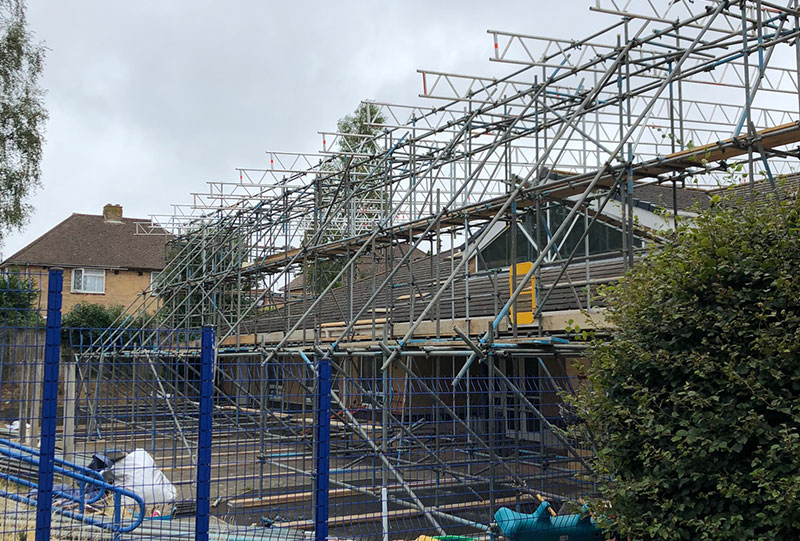 Heathlands Academy Temporary Roof - Portfolio High-Tek Scaffolding Ltd